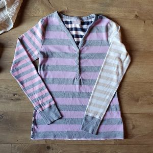 Hanna Andersson Striped Henley T-Shirt/Top, SZ Med